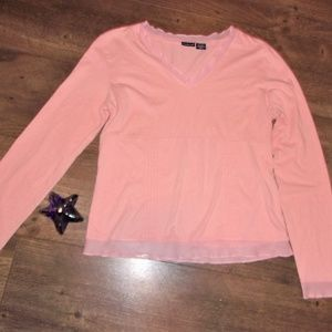 Tops - womans Medium Med pink peach long sleeve tee shirt